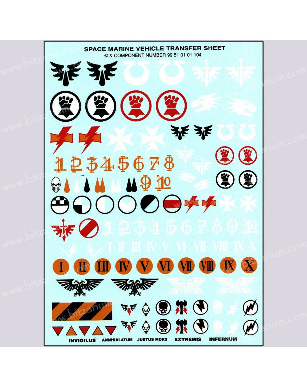 Space Marines Vehicle Transfer Sheet