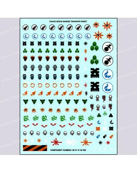 Planche de Décalcomanies Space Marines du Chaos